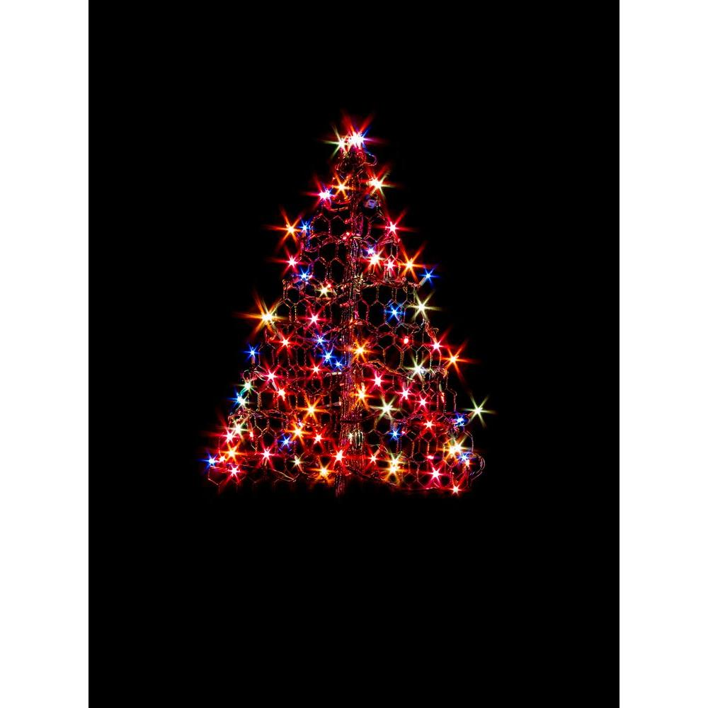2 ft. Indoor/Outdoor Pre-Lit Incandescent Artificial Christmas Tree with Green Frame and 100 Multi-Color Lights