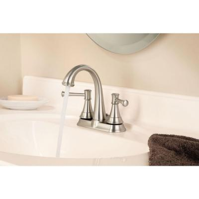 Ashville 4 in. Centerset 2-Handle Bathroom Faucet with Spot Resist Brushed Nickel