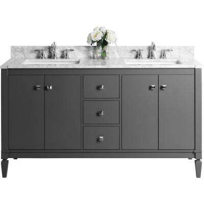 Kayleigh 60 in. W x 22 in. D Vanity in Sapphire Gray with Marble Vanity Top in Carrara White with White Basins