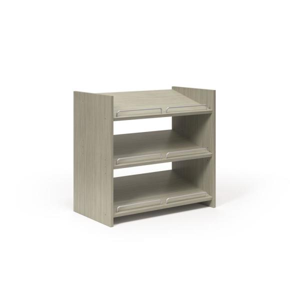 24 in. H x 25.125 in. W x 14 in. D Rustic Grey 9 pair Stackable Wood Shoe Storage