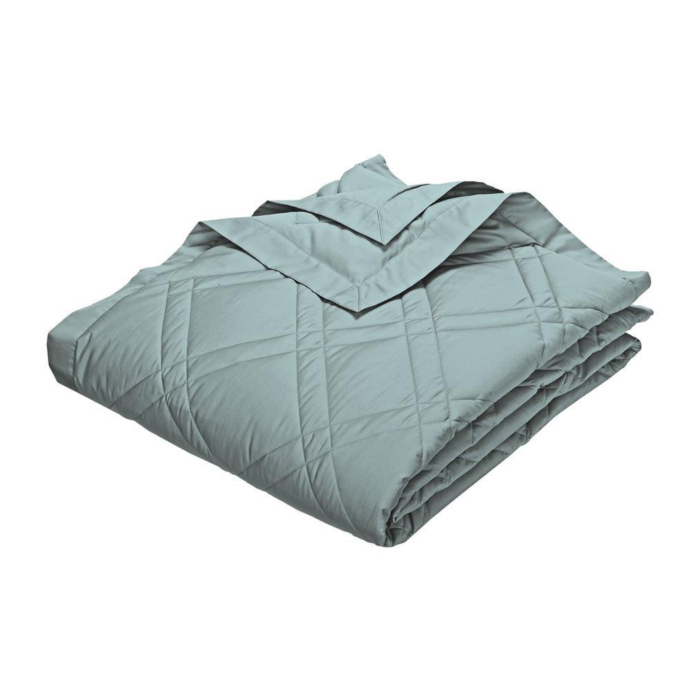 Classic Down Cloud Blue Cotton Queen Quilted Blanket