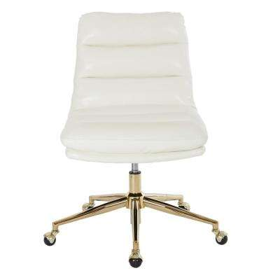 Legacy Office Chair In Deluxe White Faux Leather With Gold Finish Base