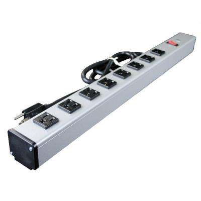 8-Outlet 15 Amp 2 ft. Long Industrial Power Strip with Lighted On/Off Switch, 15 Ft. Cord