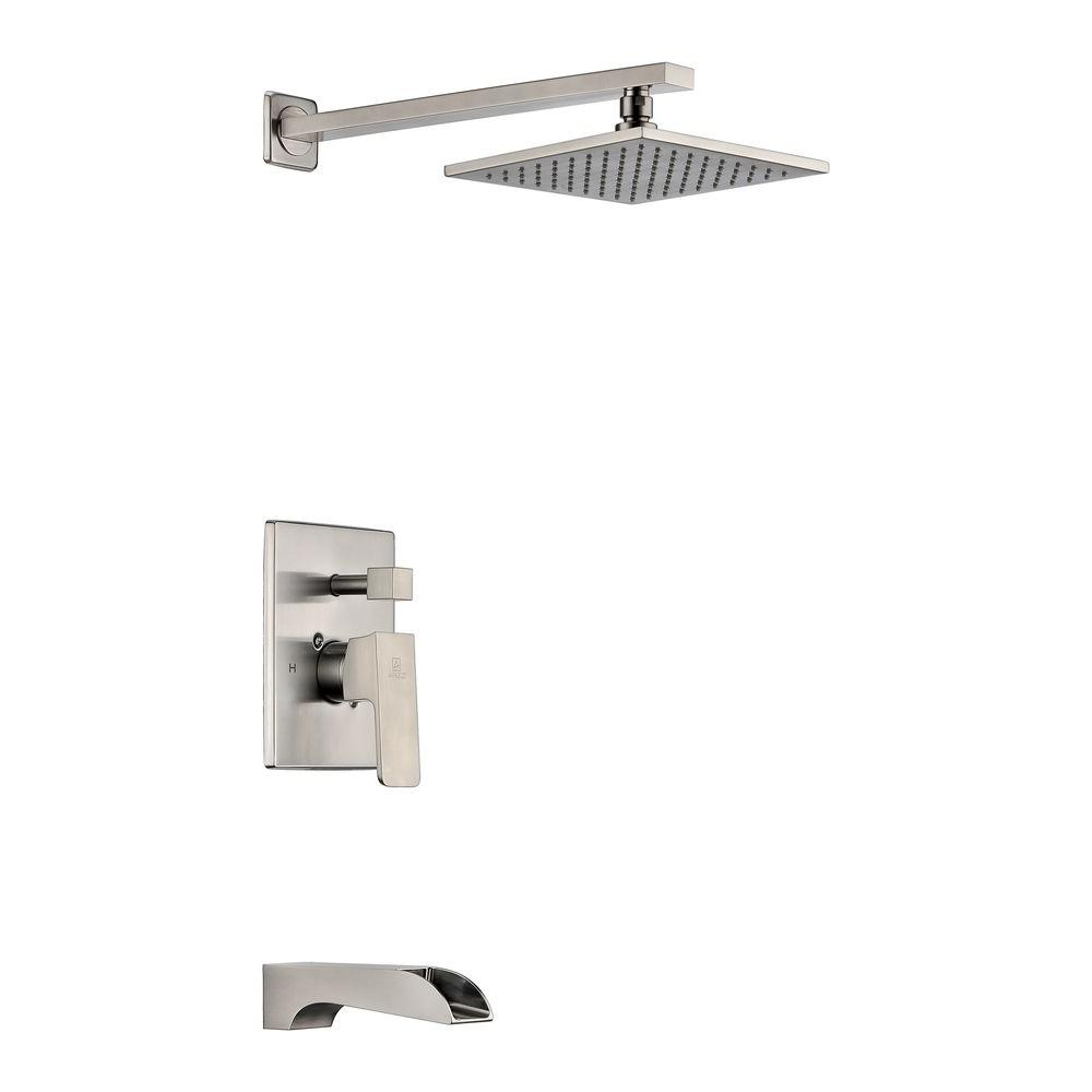 ANZZI Mezzo Series 1-Handle 1-Spray Tub and Shower Faucet in Brushed ...