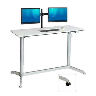 AIRLIFT White 55 in Sit-Stand Mobile Desk With Adjustable Height Range 28.1 in to 43.9 in