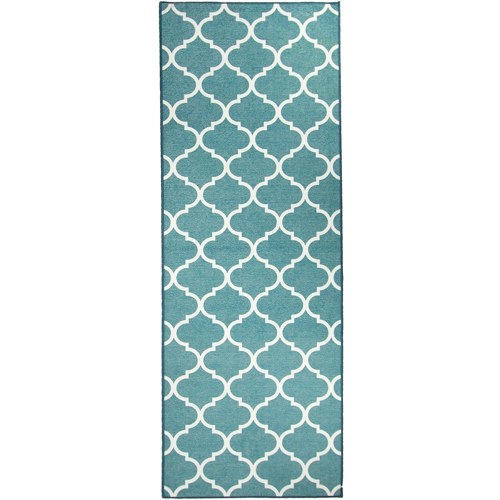 Ruggable Washable Moroccan Trellis Teal 2 5 Ft X 7 Stain Resistant Runner Rug