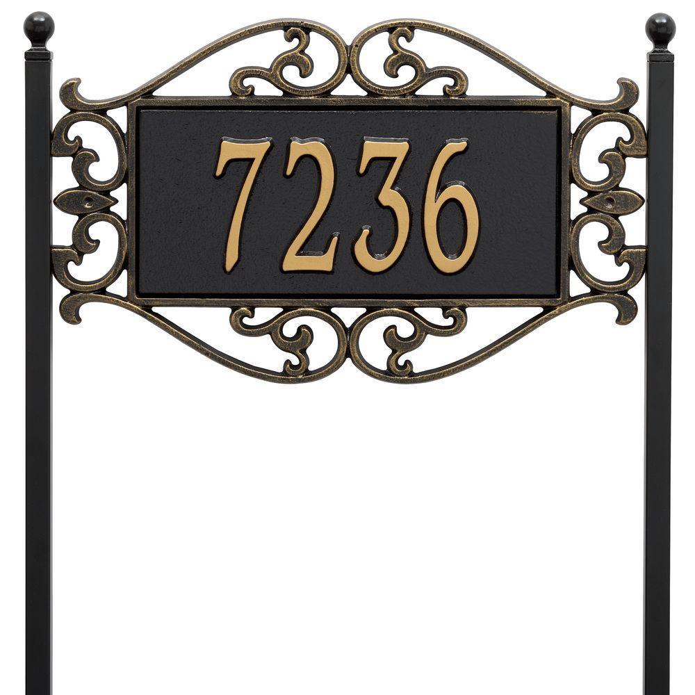 Whitehall Products Lewis Fretwork Rectangular Black/Gold Standard Lawn One Line Address Plaque