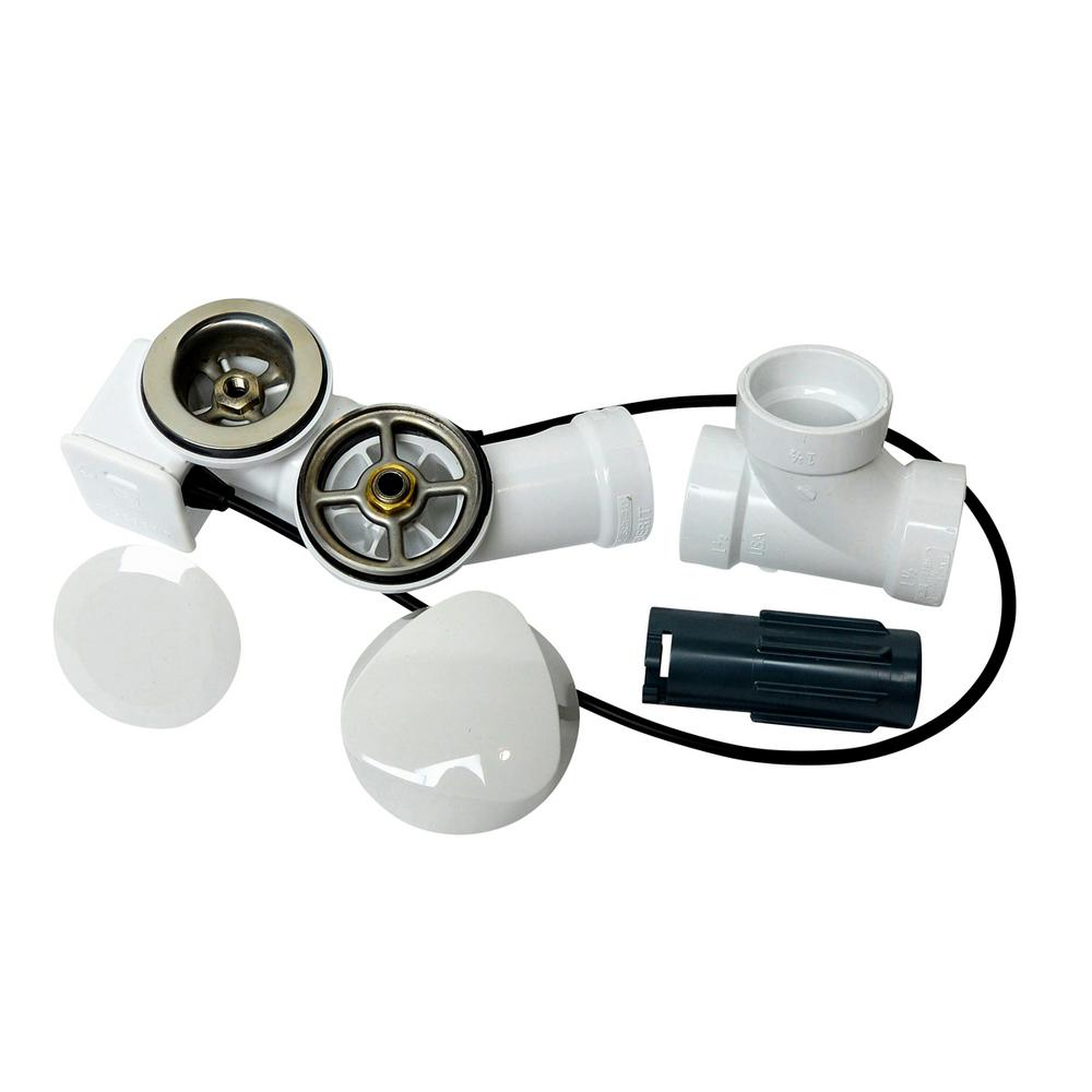 Alpha Cable Action Bath Drain and Overflow Kit in White