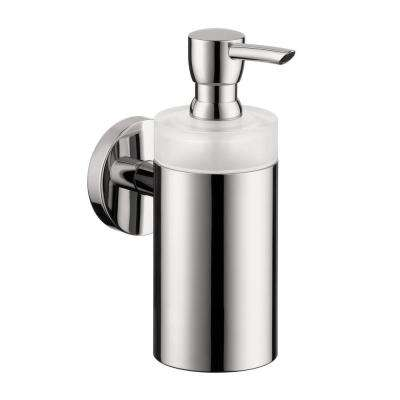 Wall-Mount Brass and Plastic Soap Dispenser in Chrome