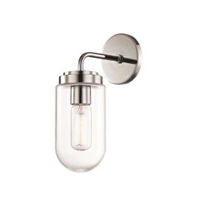 Clara 1-Light Polished Nickel Wall Sconce with Clear Glass