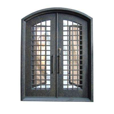 62 In X 81 Rustic Bronze Right Hand Inswing 2 Lite Clear Iron Double Prehung Front Door