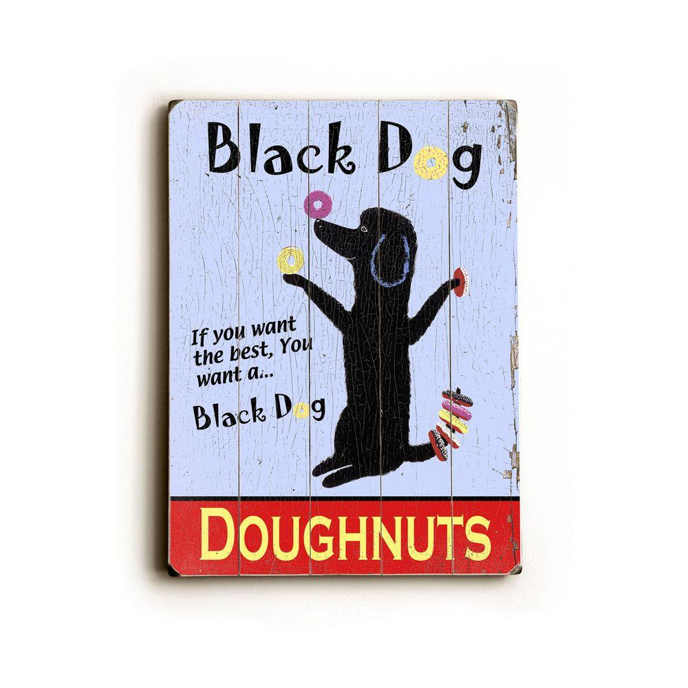 ArteHouse 9 in. x 12 in. Black Dog Doughnuts Vintage Wood Sign-DISCONTINUED