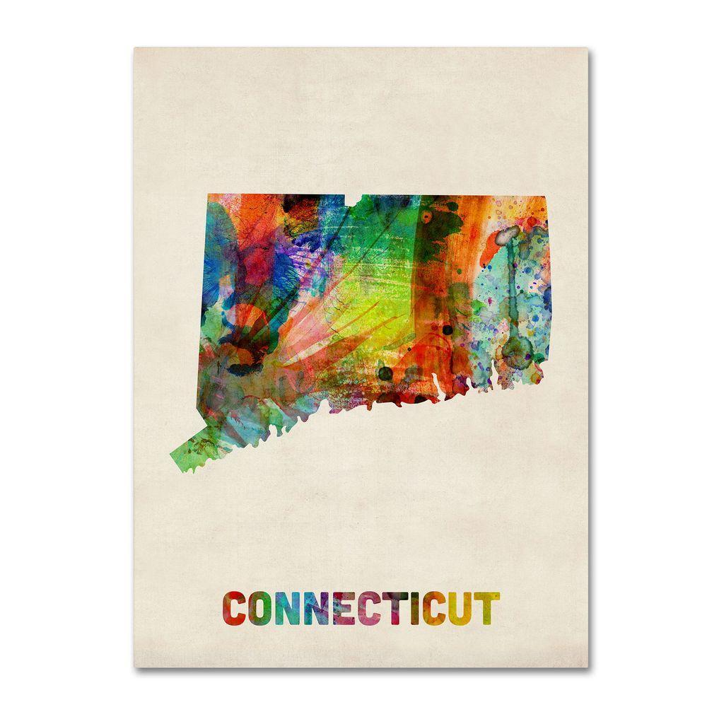 Trademark Fine Art 14 in. x 19 in. Connecticut Map Canvas Art