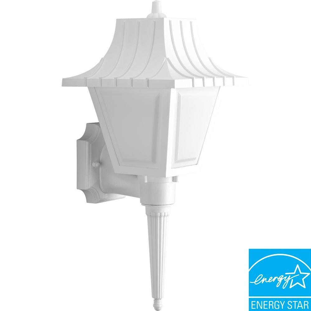 Progress Lighting Mansard Collection 1-Light Outdoor White Wall Lantern