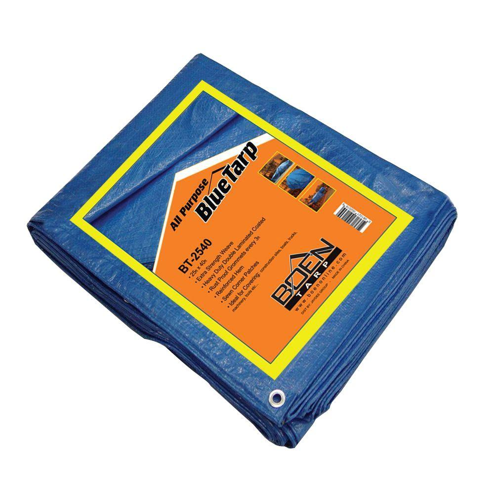 BOEN 40 ft. x 25 ft. All Purpose Blue Tarp