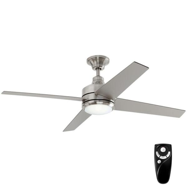 Mercer 56 in. Integrated LED Brushed Nickel Ceiling Fan with Light Kit and Remote Control
