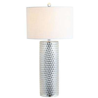 Isabella 30 in. Silver Glass Table Lamp