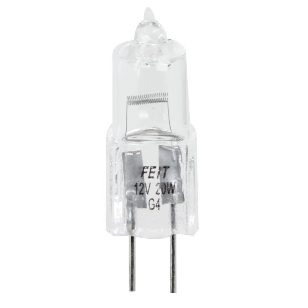 Feit Electric 20-Watt Warm White (3000K) T3 Dimmable Halogen G4 2-Pin Base Light Bulb (48-Pack)