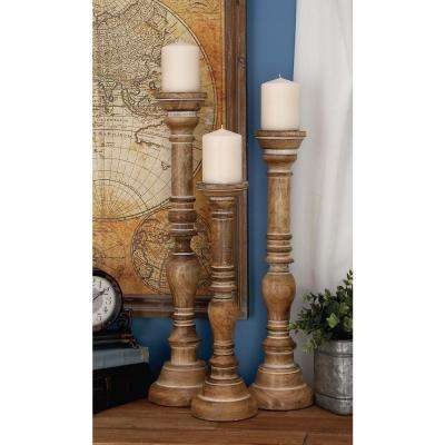 24 in. x 6 in. Mango Wood Candle Holder in Whitewashed Brown (Set of 3)
