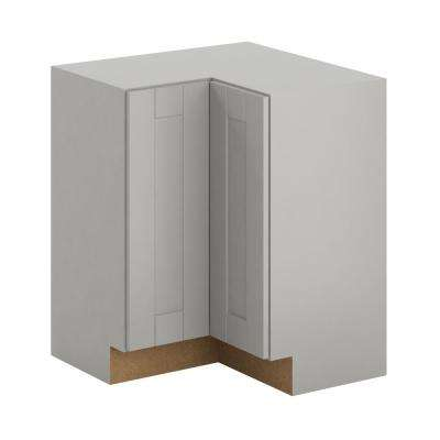 Princeton Shaker Assembled 28.5x34.5x28.5 in. Lazy Susan Corner Base Cabinet in Warm Gray