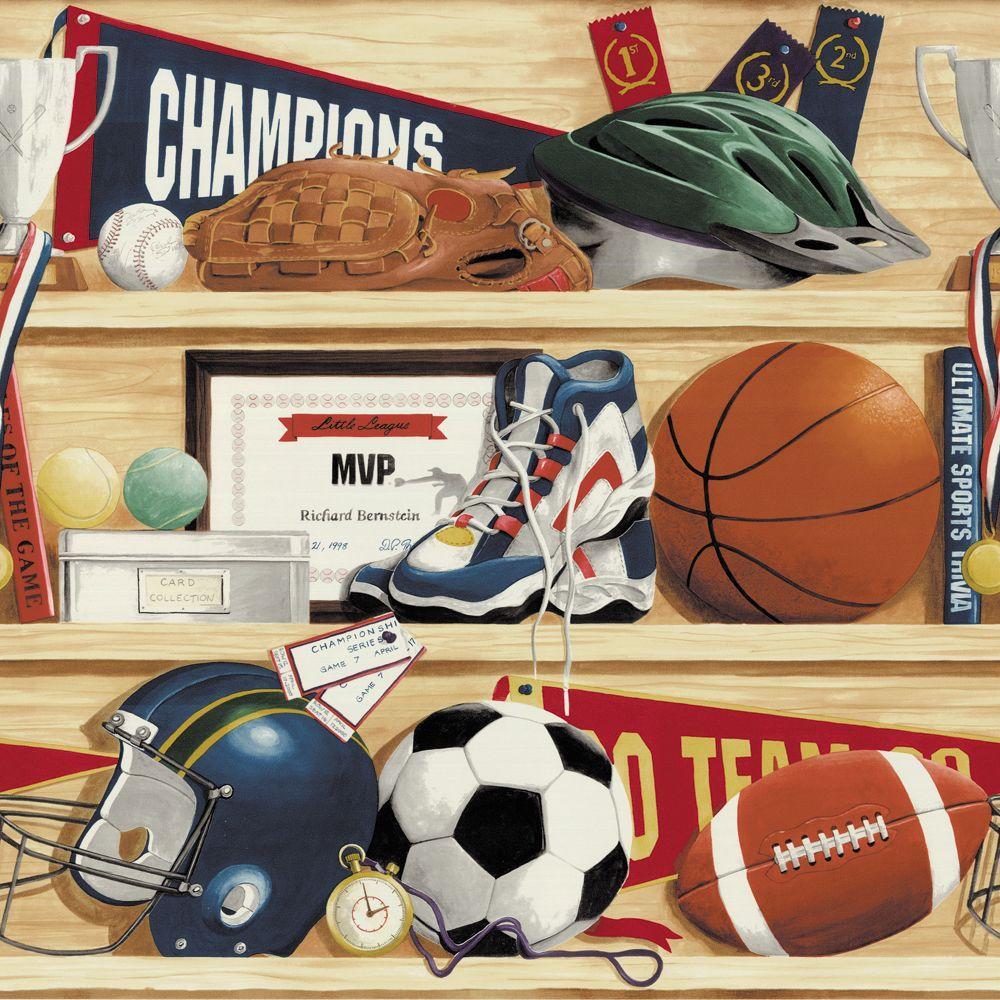 The Wallpaper Company 8 in. x 10 in. Multi Colored Sports Border Sample