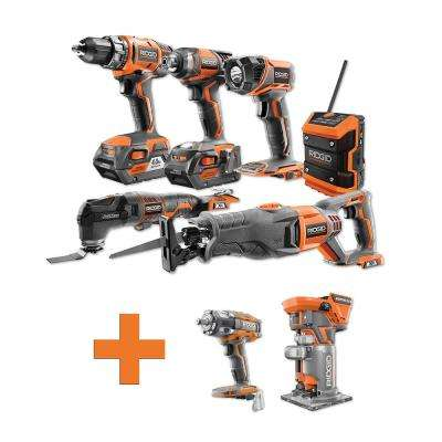 18-Volt Lithium-Ion Cordless Combo Kit (6-Tool) (2) 4Ah Batt and Charger w/Bonus Brushless Impact Wrench and Trim Router