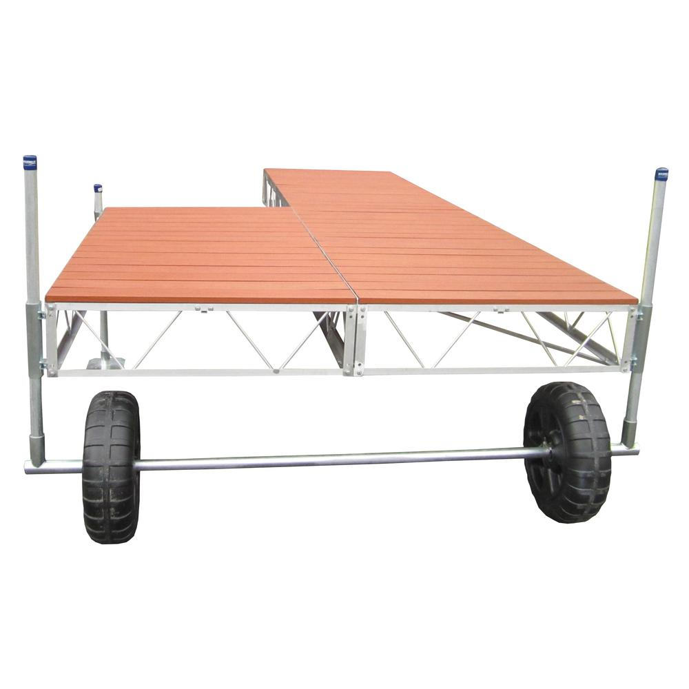 24 ft. Patio Roll-in Dock with Brown Aluminum Decking