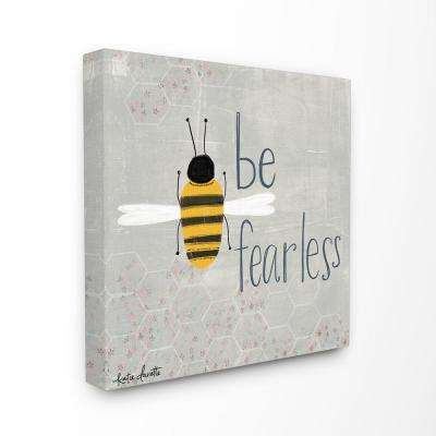 "17 in. x 17 in. ""Grey and Yellow Be Fearless Bee Illustration with Honeycomb Pattern"" by Katie Doucette Canvas Wall Art"