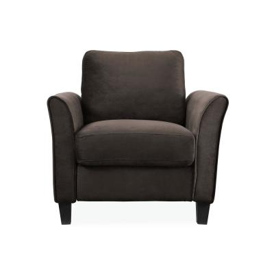 Wesley Microfiber Chair with Curved Arms in Coffee