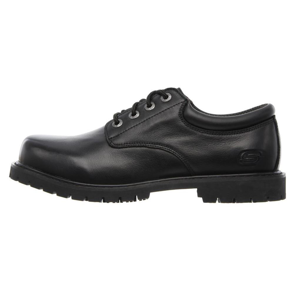 Skechers Men's Cottonwood Elks Slip Resistant Athletic Shoes Soft Toe Black Size 12(W)