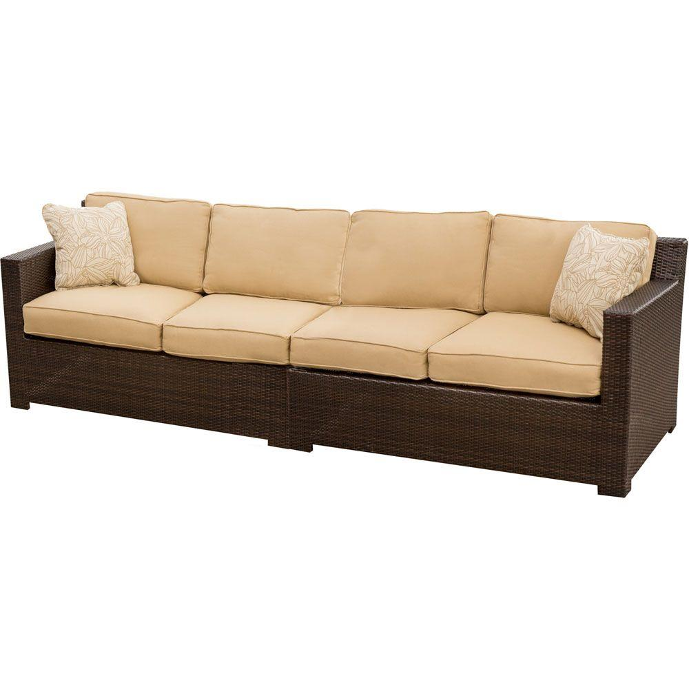 Hanover Metropolitan 2 Piece Patio Sofa With Tan Cushions