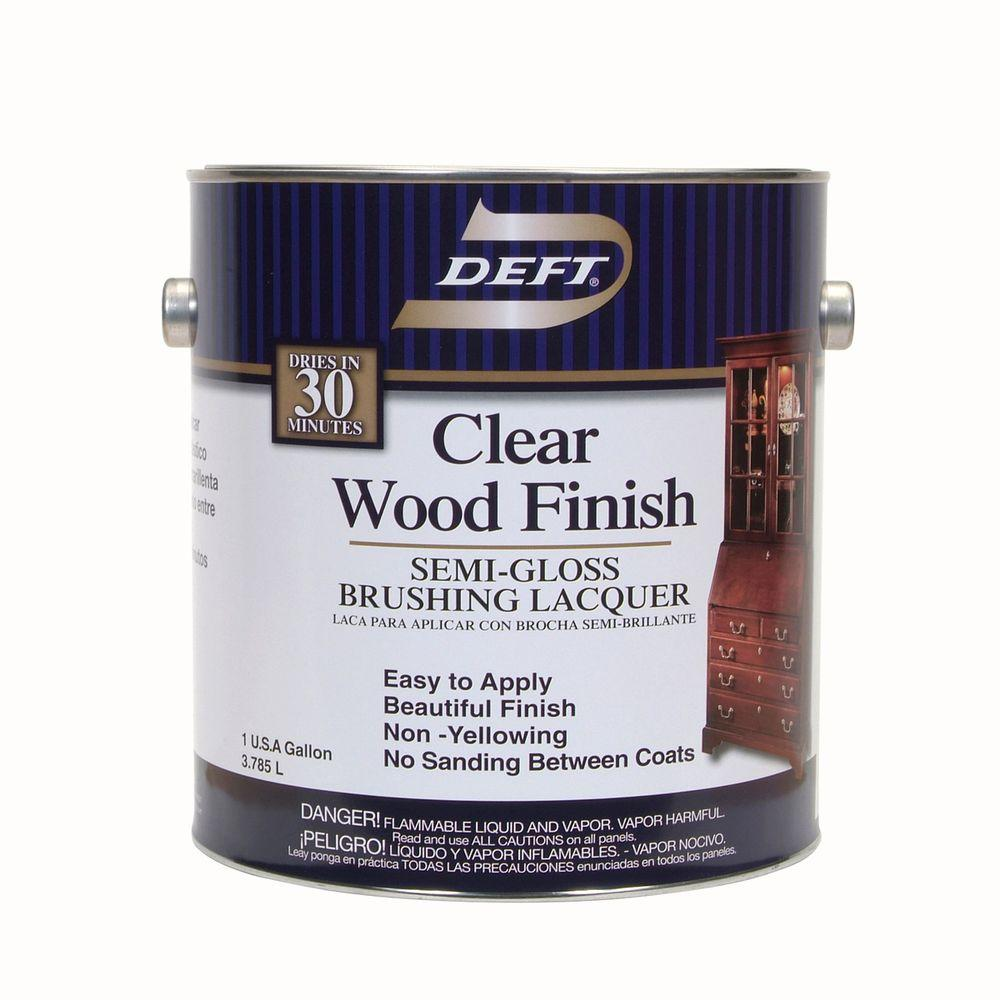 Deft 1 gal. Semi-Gloss Interior Clear Wood Finish Brushing Lacquer