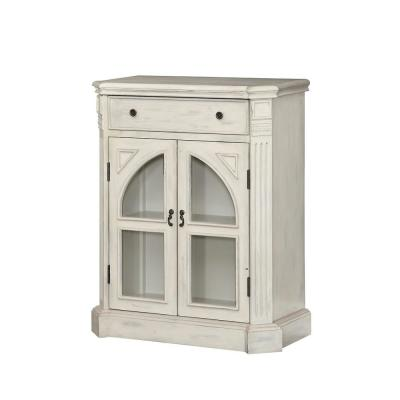 Colonial White Rub 1-Drawer 2-Door Cabinet