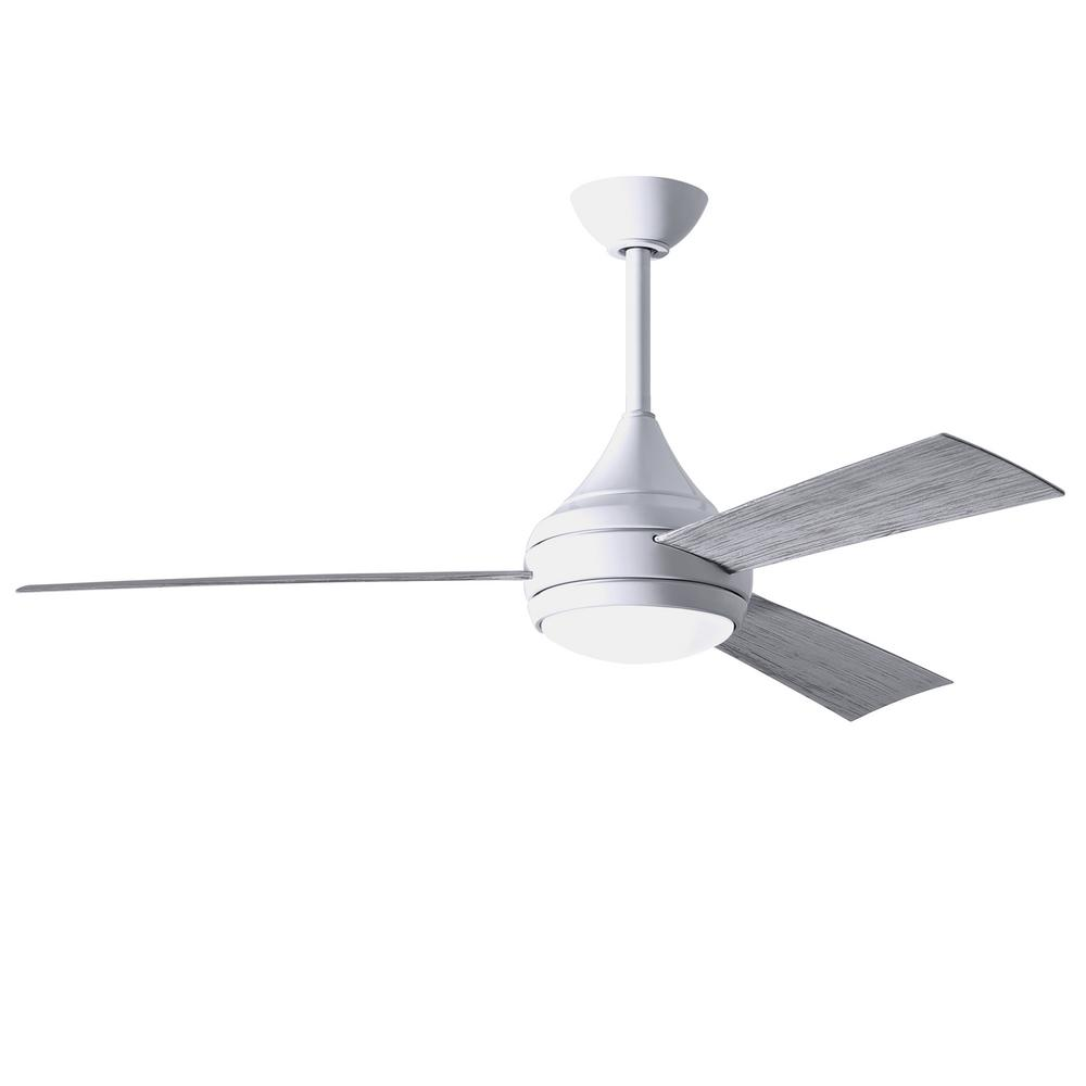 Donaire 52 in. Integrated LED Indoor/Outdoor Gloss White Ceiling Fan with Light with Remote Control