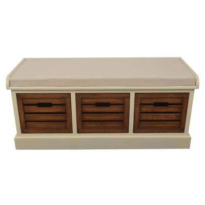 Melody White and Honey Oak 3-Drawer Bench with White Cushion
