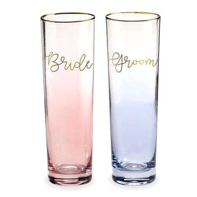 Love You More Glass 8 oz. Bride and Groom Flutes (Set of 2)