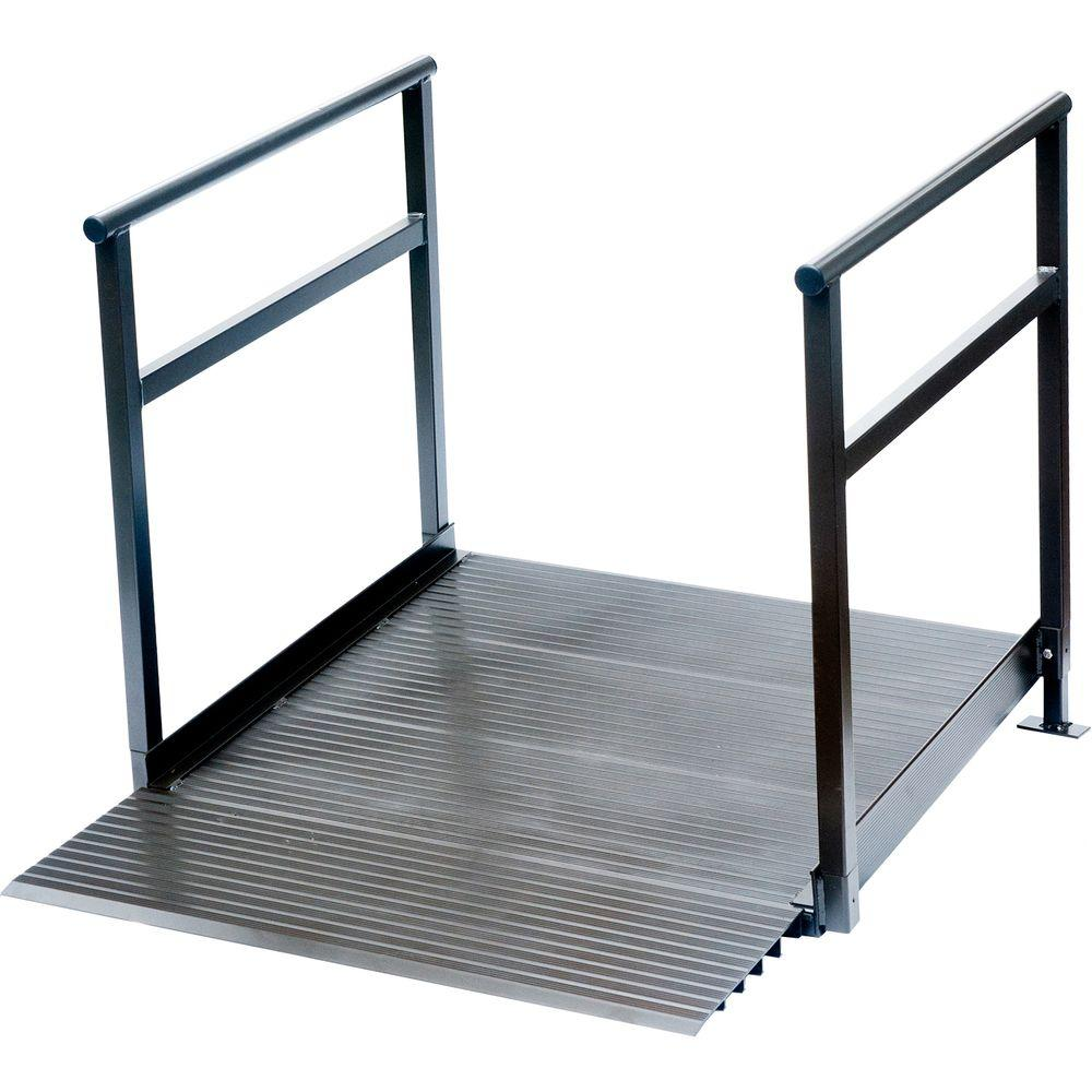 Peace Of Mind 4 ft. x 3 ft. 6 in. x 4 in. Aluminum Threshold Ramp with Handrails in Bronze