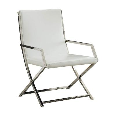 White and Silver Polyurethane Upholstered Metal Accent Chair with High Backrest
