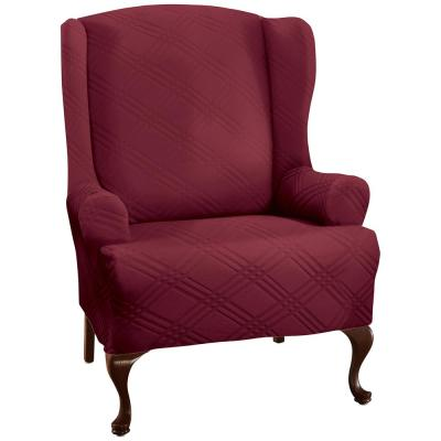 Stretch Double Diamond Brick Wing Chair Slipcover