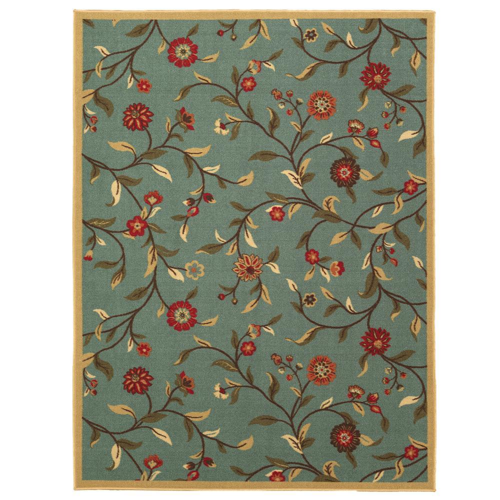 Ottomanson Ottohome Collection Floral Garden Design Sage