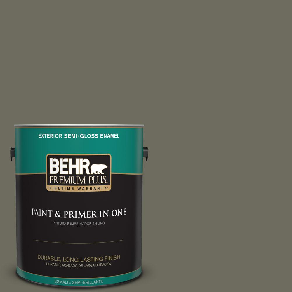 1-gal. #N370-6 Gladiator Gray Semi-Gloss Enamel Exterior Paint