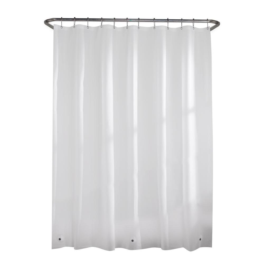 Glacier Bay Peva Medium 5 Gauge 70 In W X 72 In H Shower Curtain Liner In White 71122 Wht The Home Depot