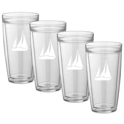 Kasualware Sailboat 22 oz. Doublewall Tall Tumbler (Set of 4)
