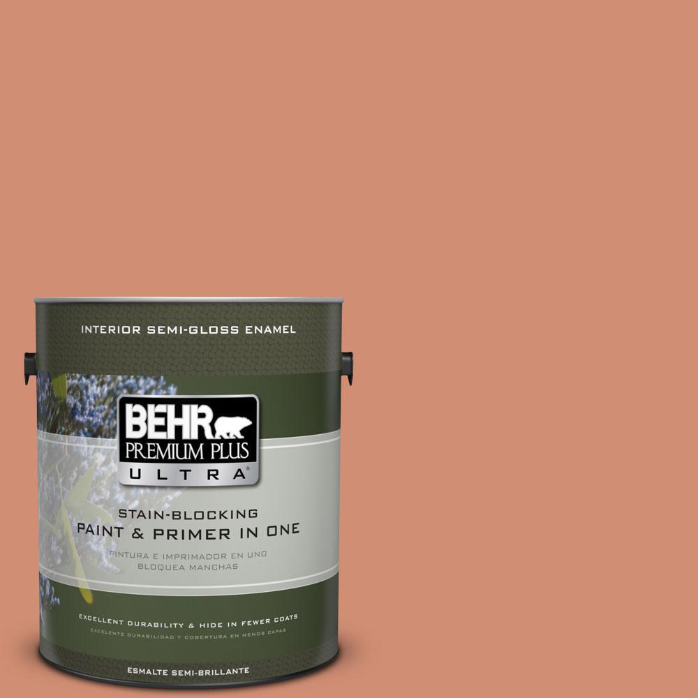 BEHR Premium Plus Ultra 1-gal. #M200-5 Terra Cotta Clay Semi-Gloss Enamel Interior Paint