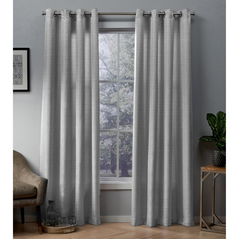 Whitby 54 in. W x 108 in. L Metallic Slub Grommet Top Curtain Panel in Silver (2 Panels)