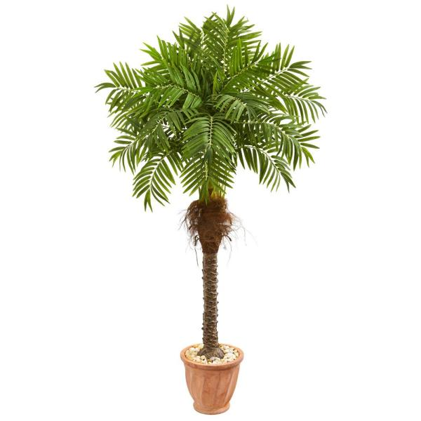 68 in. Robellini Palm Artificial Tree in Terracotta Planter