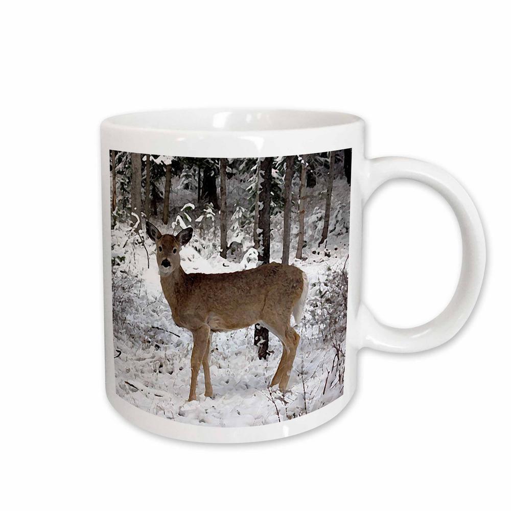 Wild Animals 11 oz. White Ceramic Deer Mug