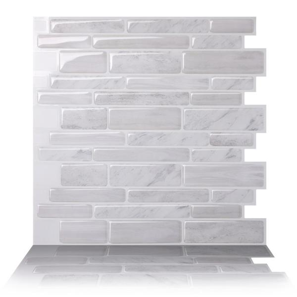 Polito White 10 in. W x 10 in. H Light Gray PVC Peel and Stick Decorative Mosaic Wall Tile Backsplash (10-Tiles)