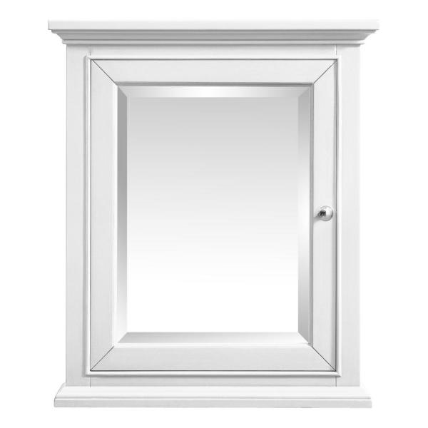 27.25 in. W x 28.00 in. H Framed Rectangular Beveled Edge Bathroom Vanity Mirror in White finish