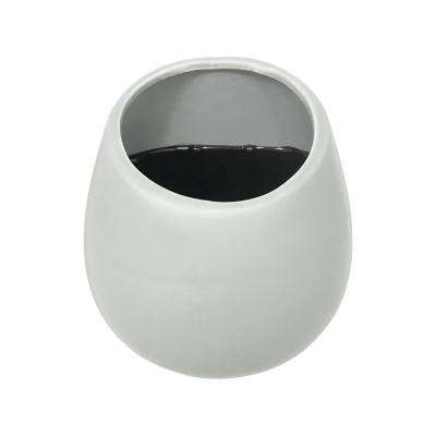 Round 3 1/2 in. x 4 in. White Ceramic Wall Planter